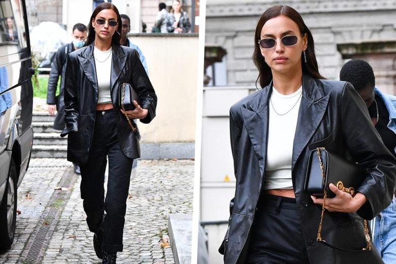 Come indossare il blazer di pelle? Irina Shayk docet!