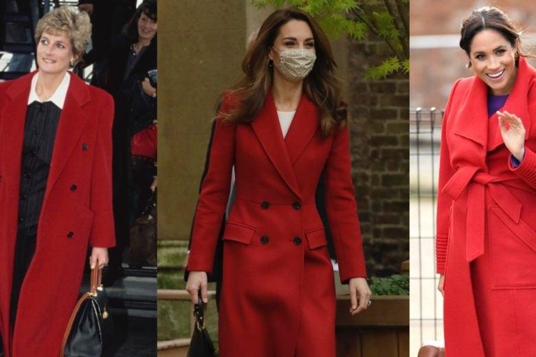 """Da Lady Diana a Kate Middleton (e Meghan Markle): il cappotto rosso è sempre un """"royal"""" trend"""