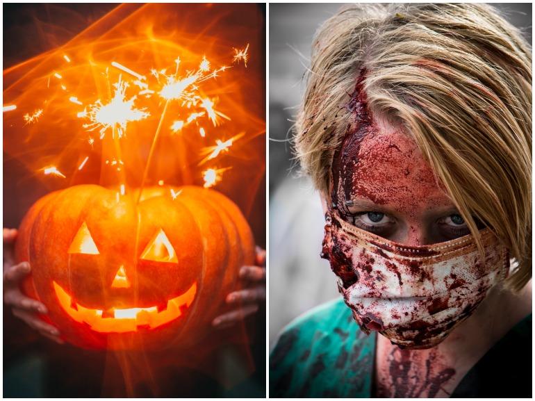 trucco halloween con mascherina cover mobile