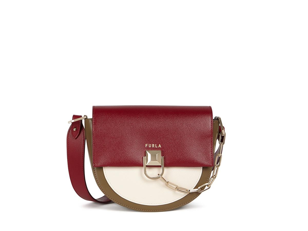 Furla Miss Mimì Mini Crossbody_WB00184_Colorblock Textured Leather+New Calf Leather_Ciliegia+Pergamena+Fango