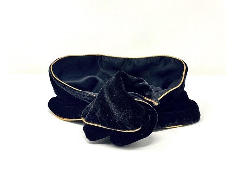fascia-per-capelli in velluto nero con profili dorati Bokeh Milano