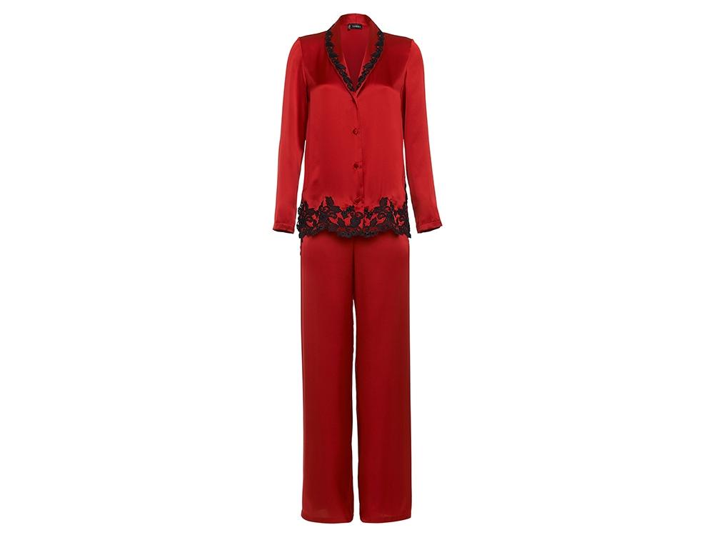 La-Perla-'MAISON'-Red-silk-pyjamas-with-frastaglio-embroidery-