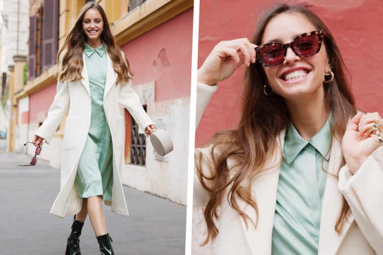 L'abito sorbetto di Matilde Gioli è da colpo di fulmine (e la bella notizia è che è anche in saldo!)
