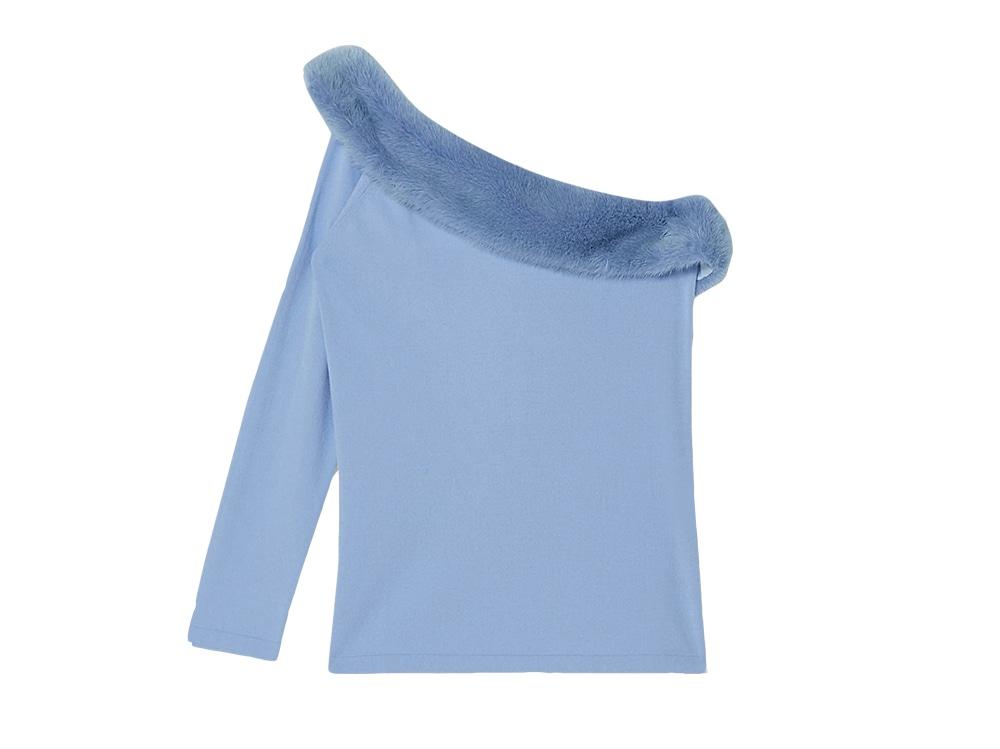 maglia monospalla con visone BLUMARINE