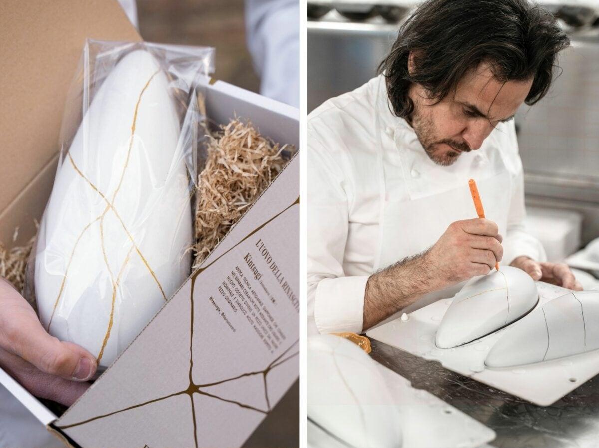 Uovo rotto Antonio Zaccardi Colombe e uova pasqua artigianali delivery