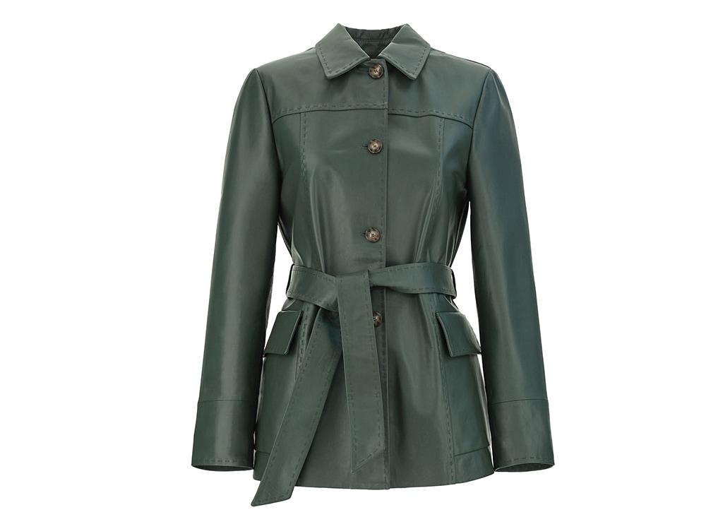 max-mara-giacca-in-pelle-nappata-con-cintura-in-vita-color-verde-scuro