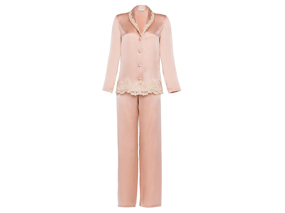 La-Perla-'MAISON'-Pink-silk-pyjamas-with-frastaglio-embroidery-