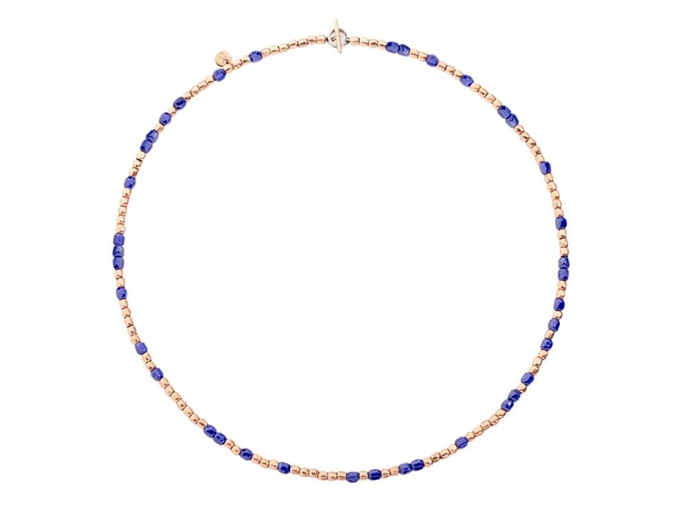 collana-dodo-Collana-mini-granelli-in-oro-rosa-9K-e-ceramica-blu