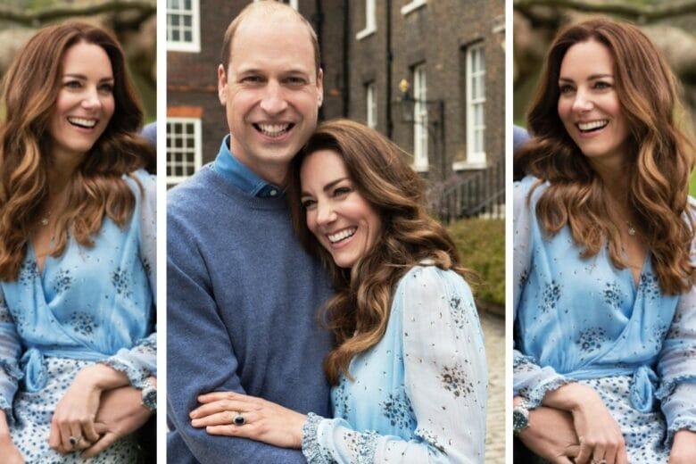 Kate e  l'abito azzurro per il decimo anniversario di matrimonio
