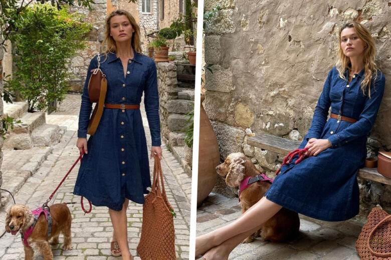 Abito in denim, ciabattine in rafia e borsa crochet: get the look!