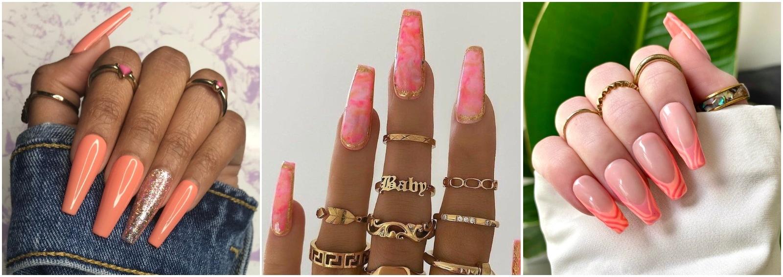 unghie pesca 2021 pastello corallo fluo nail art cover desktop