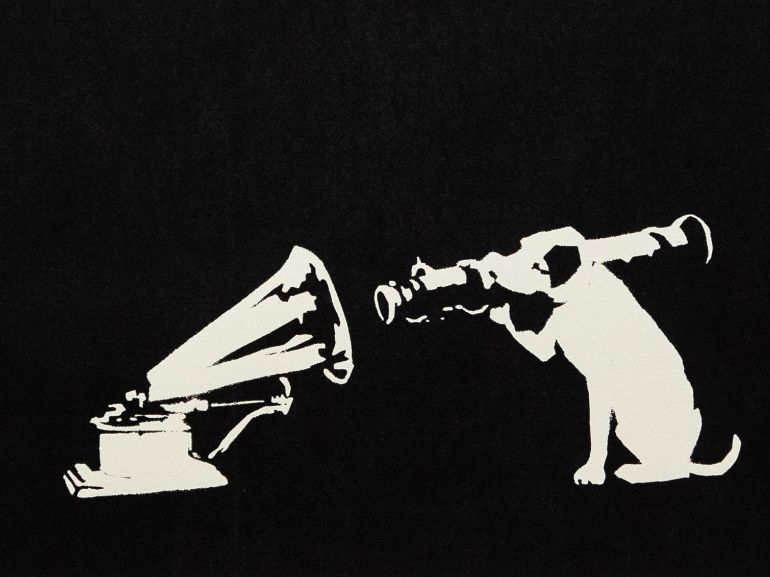 HMV Bansky 2004 serigrafia su carta Artrust