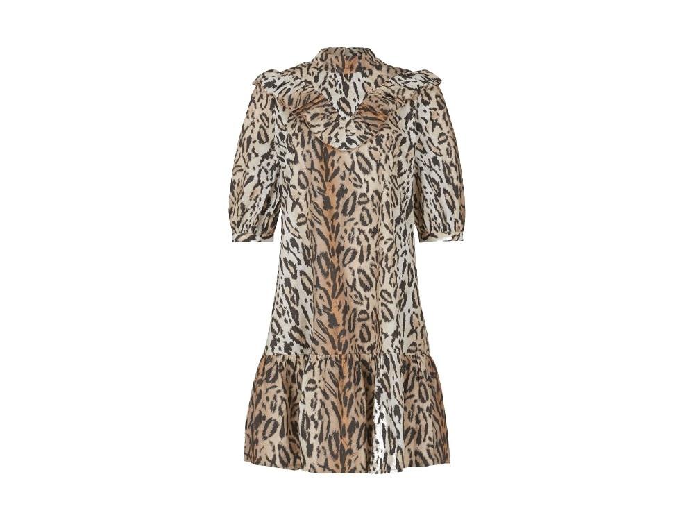 eksept by shoeby su zalando vestito con balze e rouches animalier