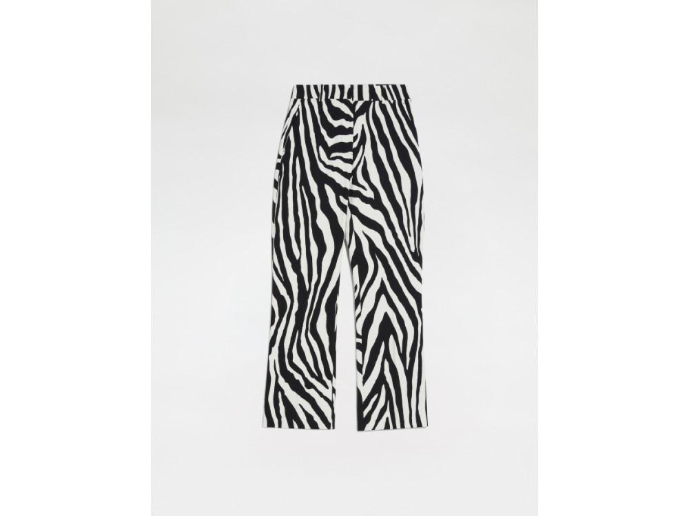 max mara pantalone bianco e nero stampa zebra